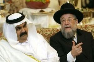 Cheikh Hamad bin Khalifa Al-Thani, Emir du Qatar  le Grand Rabbin de l'entité sioniste, Meir Lau, Chief Rabbi of Israel.